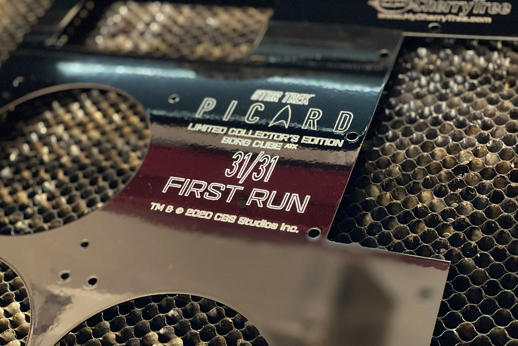 Detail of back panel engraving for Star Trek: Picard Borg ATX | Borg Cube Computers and Cases by CherryTree Inc.