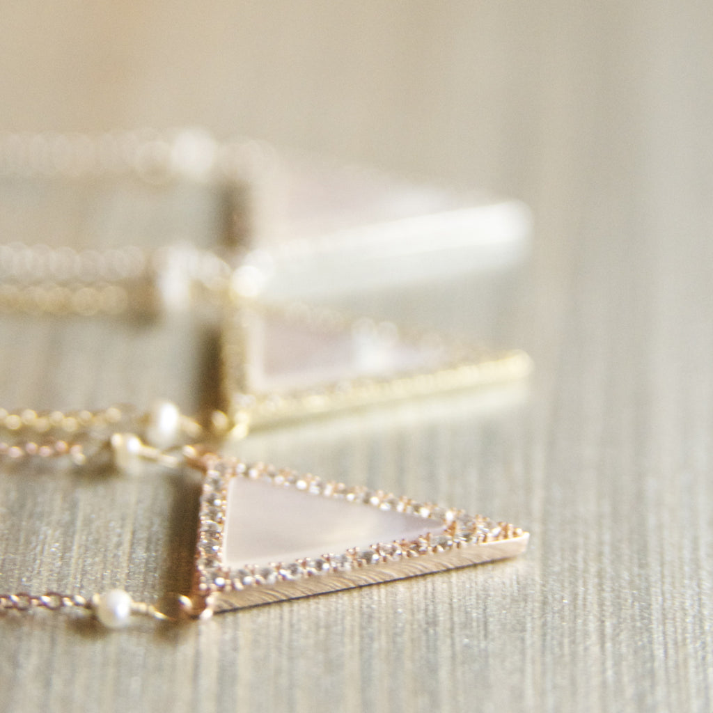 Geometric Mother of Pearl Triangle Necklace