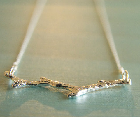Sterling Silver Brach Necklace Handcrafted by Bare and Me