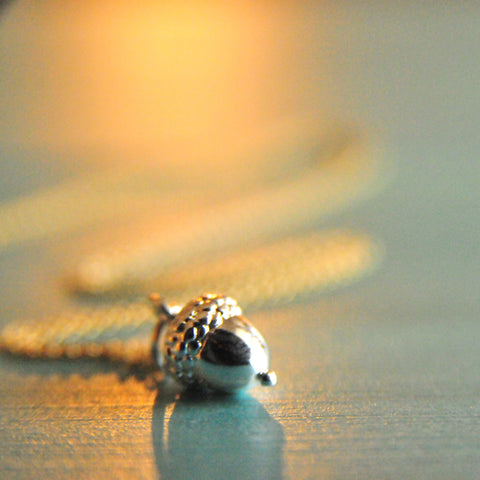 Acorn Necklace in Sterling Silver Handmade by Bare and Me