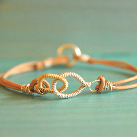 Eternity Love Link Bracelets in Leather