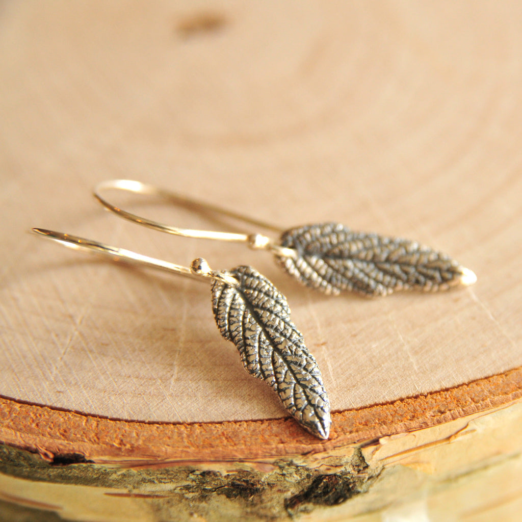 Sterling Silver Dainty Woodland Leaf Earrings