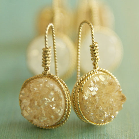 Round Druze White or Gold Earrings