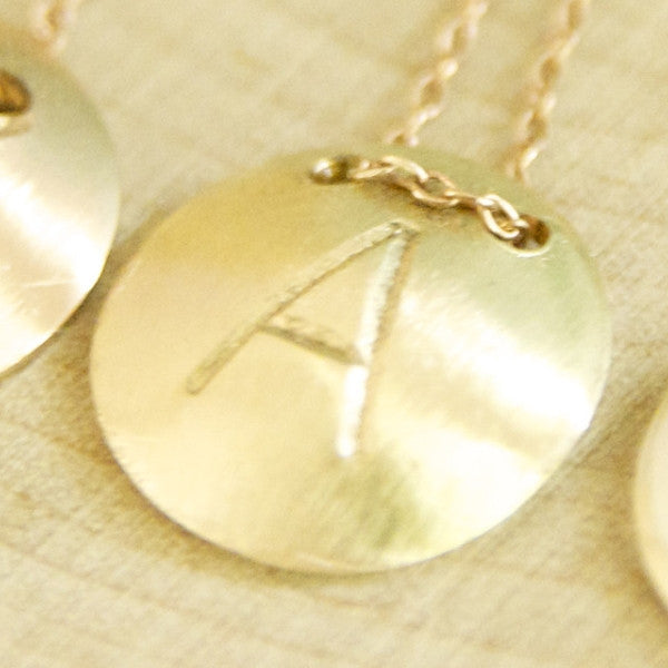 Gold Initial Disc Necklace/ Gold Initial Jewelry
