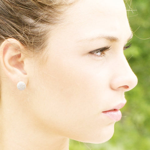 Dainty stud druze earrings in silver/ druze stud earring handcrafted by bare and me