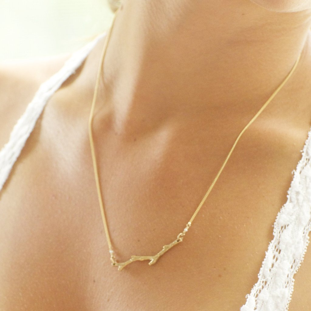 Gold Twig Necklace Handcrafted by Bare and Me