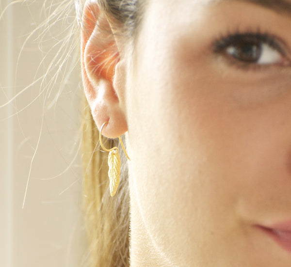 Gold Woodland Leaf Earrings