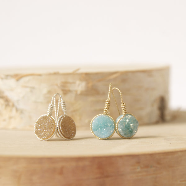 Dainty Druze Dangle Earrings