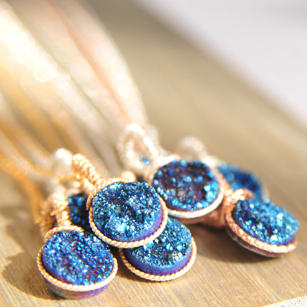 Midnight Blue Druze Necklace
