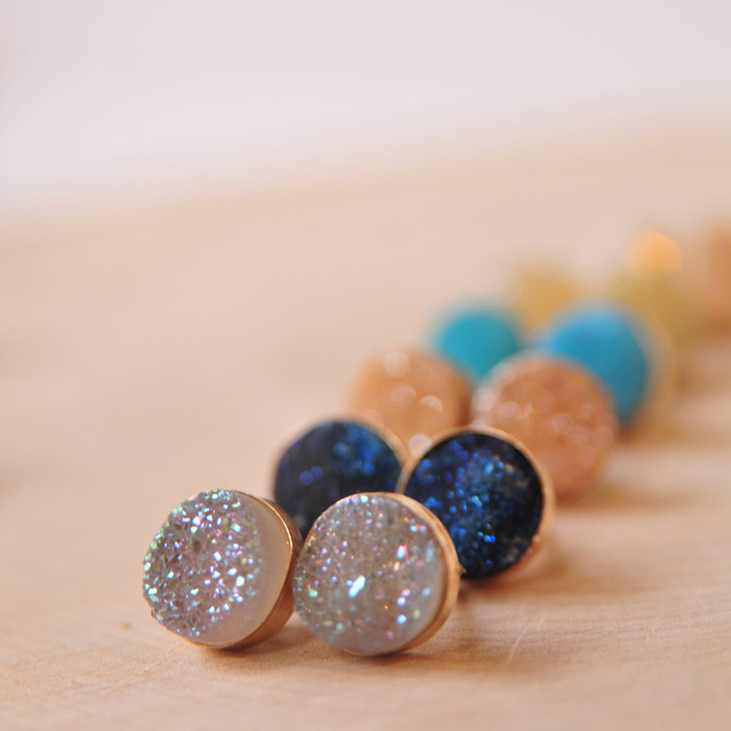 Druze Post Earrings in Gold & Custom Colors