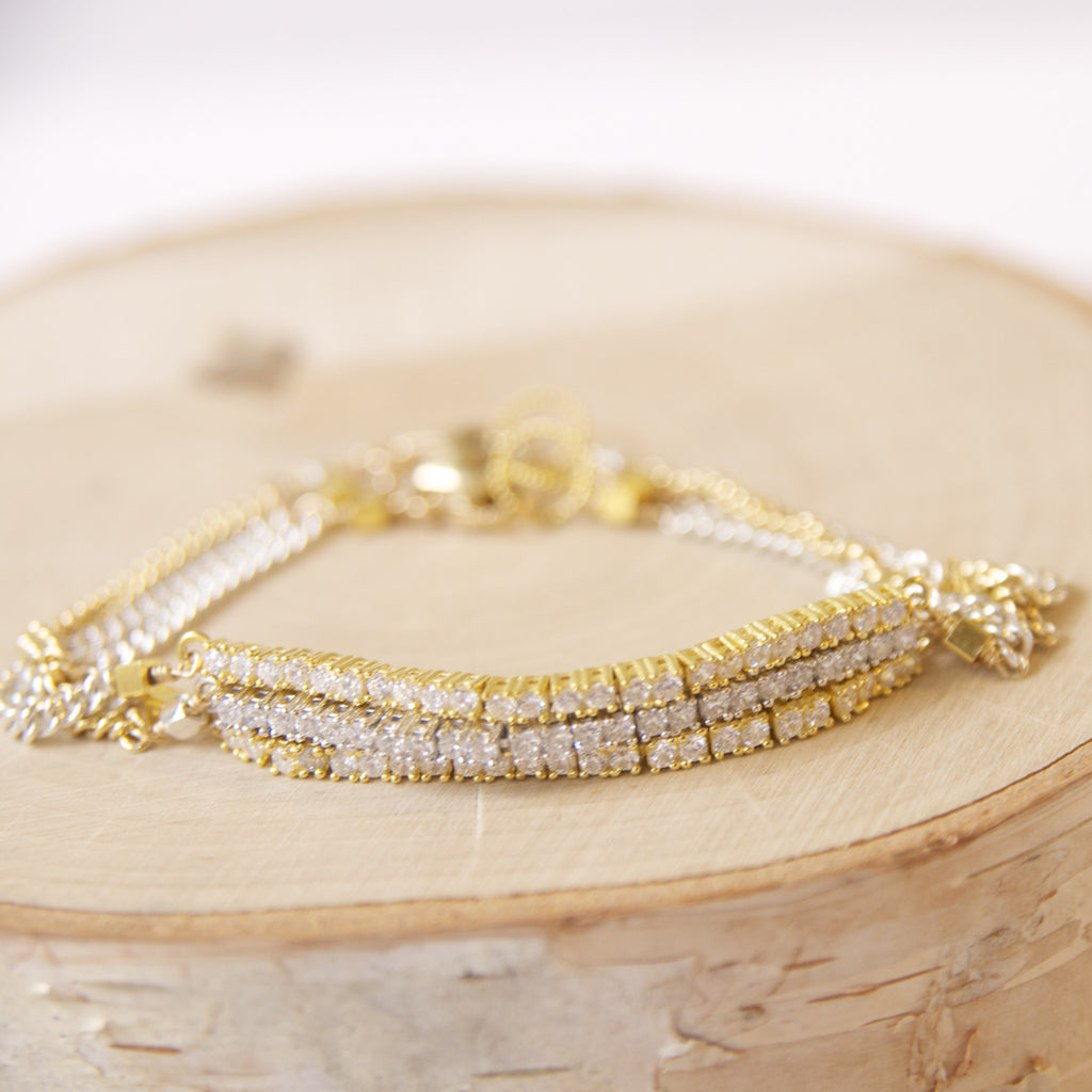 Dainty Mixed Metal Tennis Bracelet