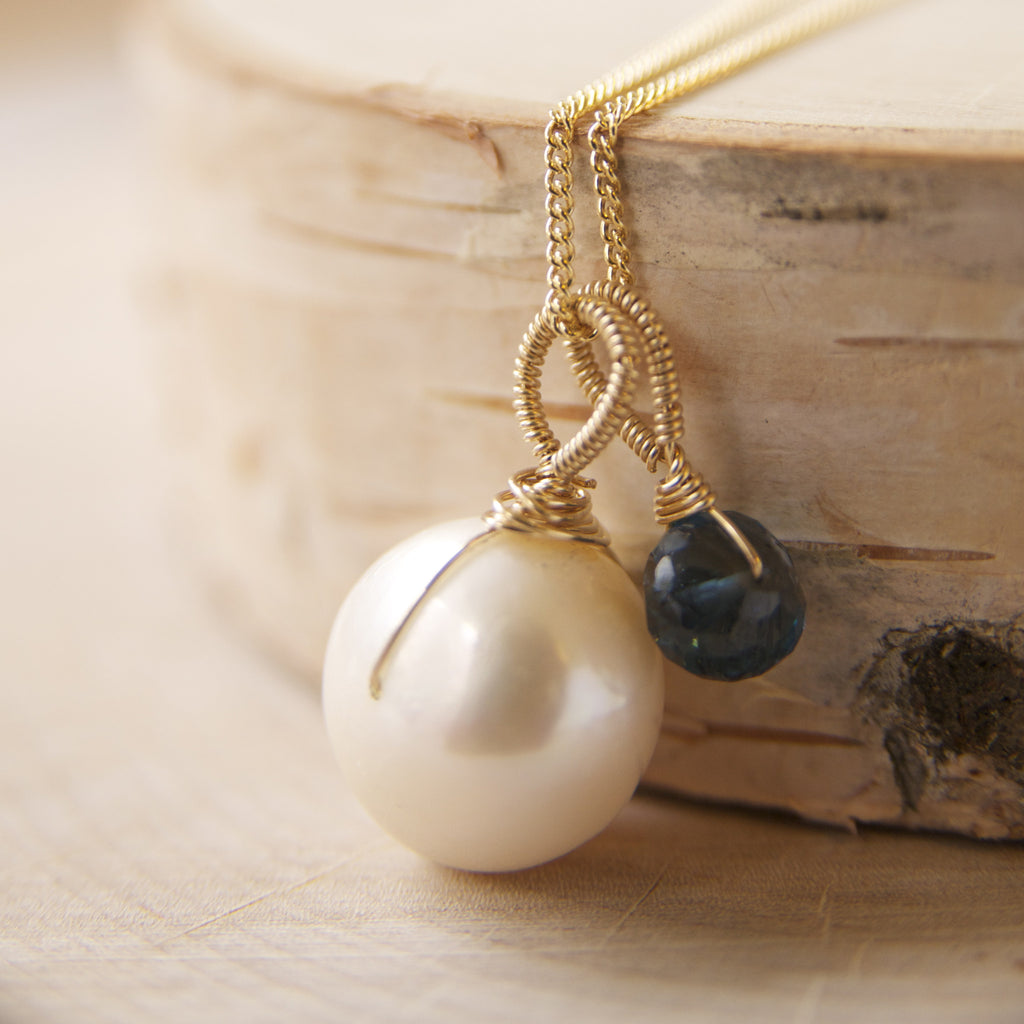 London Blue Topaz and Pearl Necklace