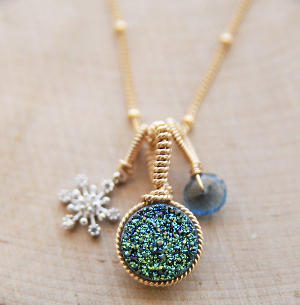 Aqua Druze Snowflake Charm Necklace in Gold
