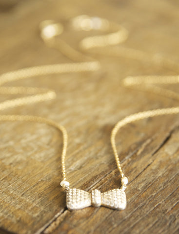 Simple, Dainty Bow CZ Necklace Handcrafted by Bare and Me