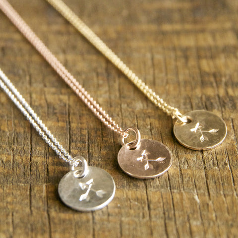 Crossed Arrows friendship necklaces handcrafted by bare and me/ best friend jewelry/ wedding party gift ideas