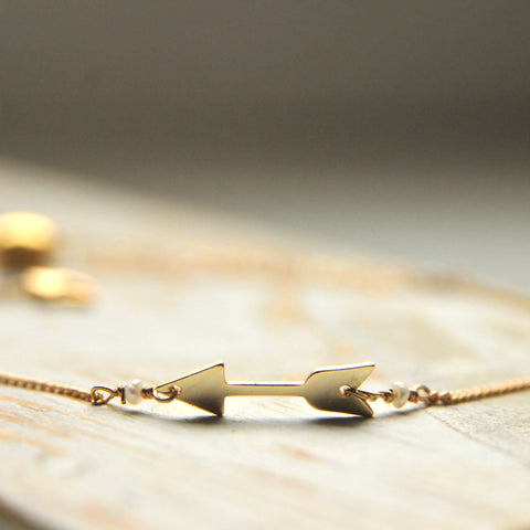 Dainty Arrow Bracelet Handcrafted by Bare and Me