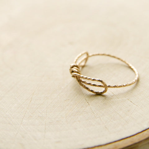 Dainty Rose Gold Bow Ring/Tie The Knot Rings in Rose Gold