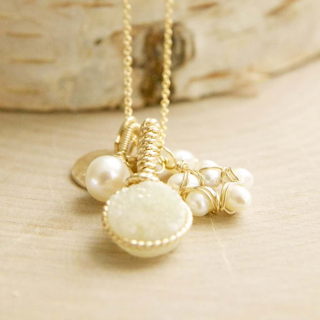 Lemon Druzy Charm Pearl Flower Necklace Handcrafted by Bare and Me