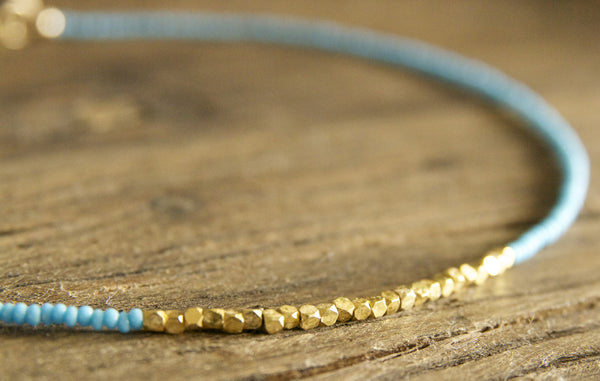 Turquoise and Gold Necklace Handcrafted by Bare and Me