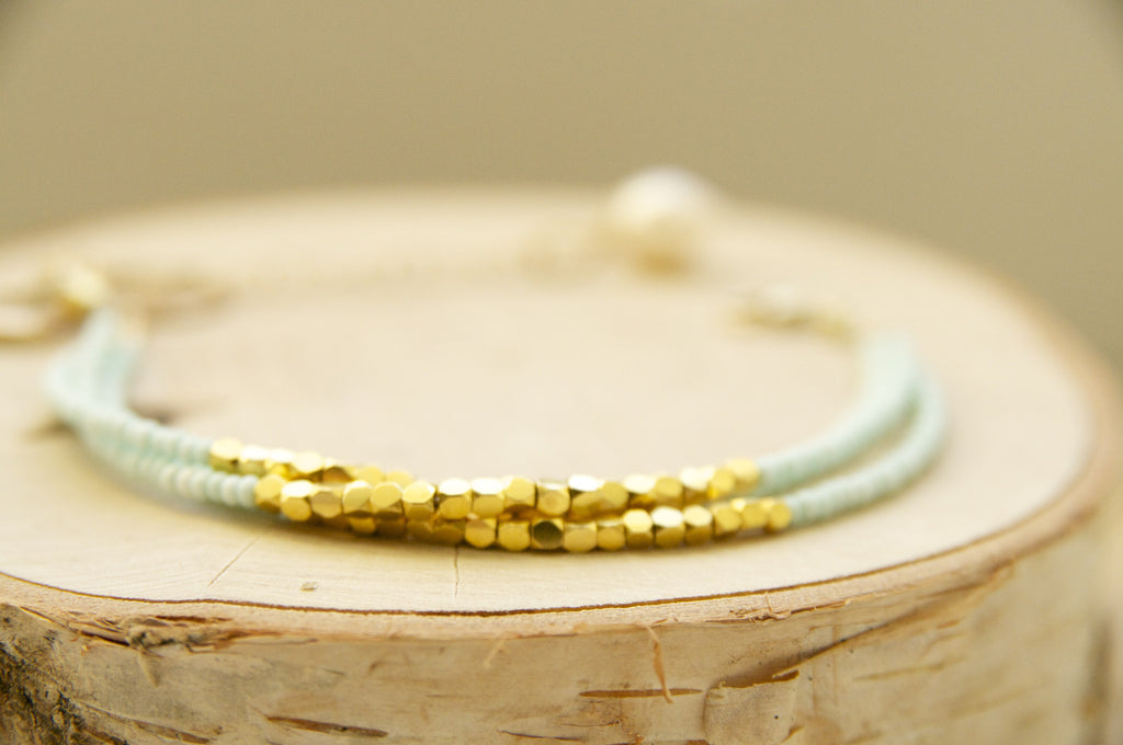 Mint Dainty Trio of Seed Beads and Vermeil Bracelet in Turquoise or Mint Green