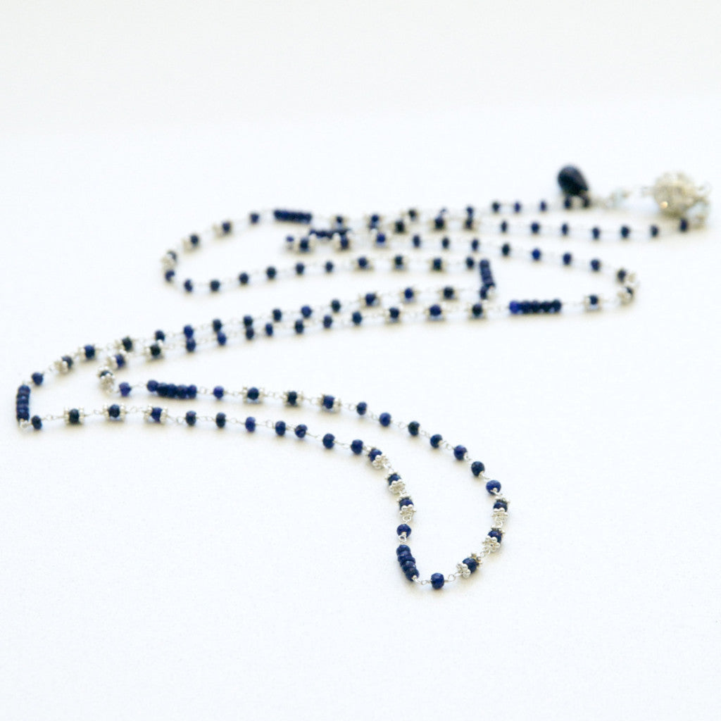 Blue Sapphire Long Layering Necklace in Sterling Silver Handcrafted by Bare and Me
