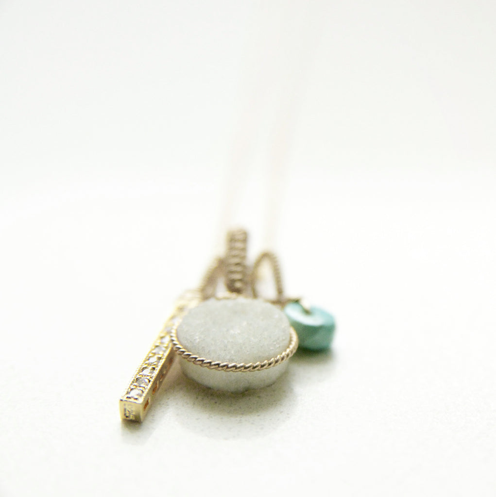 Brillant White Druzy Charm Necklace in Gold and Turquoise