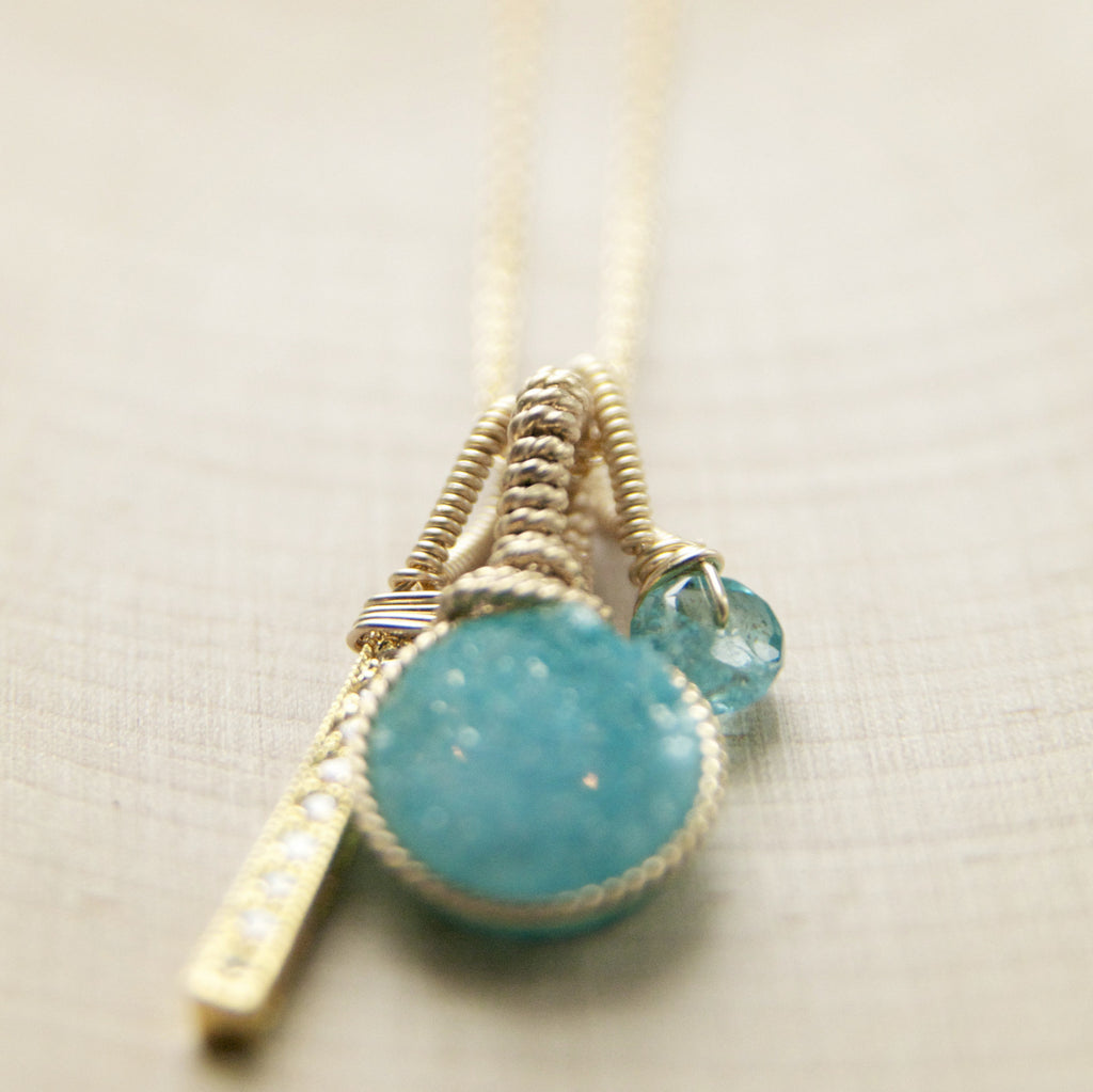 Ocean Blue Druzy Charm Necklace in Gold