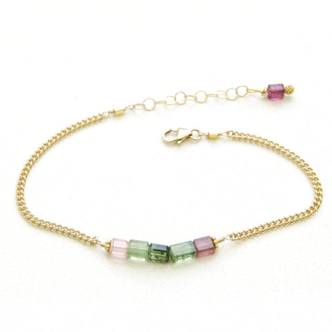 Army Green and Pink Tourmaline Bracelet Handcrafted by Bare and Me
