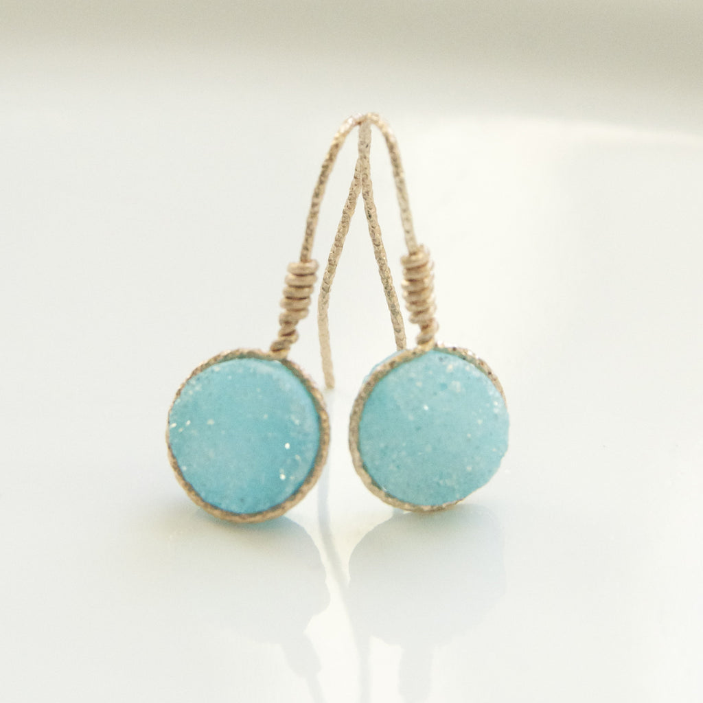 Sparkling Ocean Blue Druzy Earring Handcrafted by Bare and Me