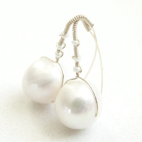 Pearl Drop Statement Earrings/ The Perfect Pearl Earring/ Statement Pearl Earrings in White