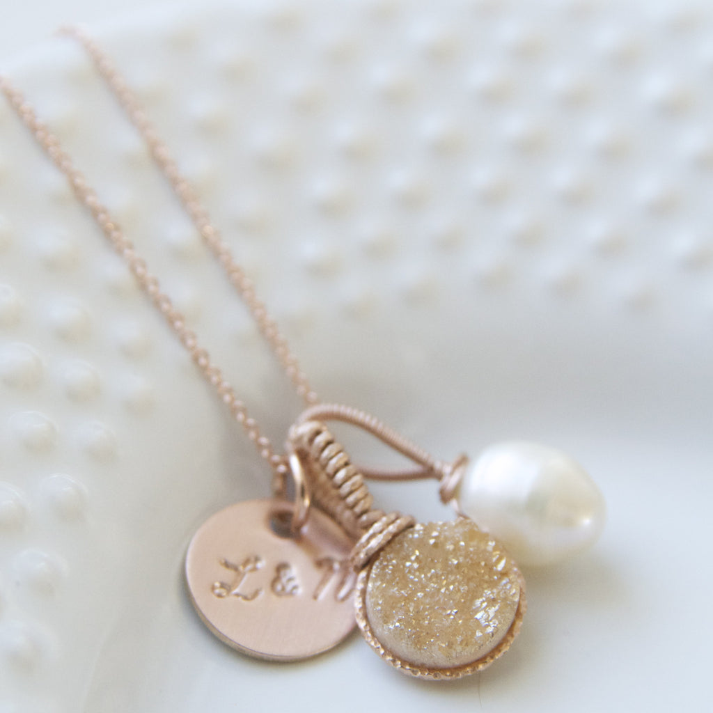 The Ultimate Charm Necklace in Gold Druzy and Pearls in Rose Gold