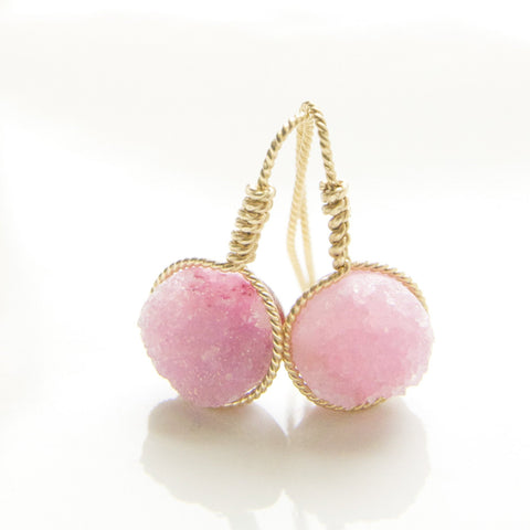 Dainty Light Pink Druzy Earring Handcrafted by Bare and Me