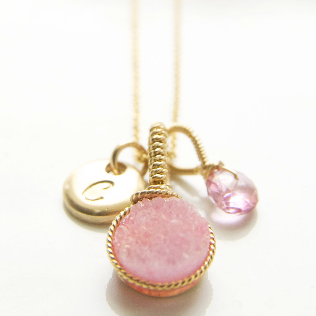 The Perfect Pink Charm Necklace Handcrafted by Bare and Me