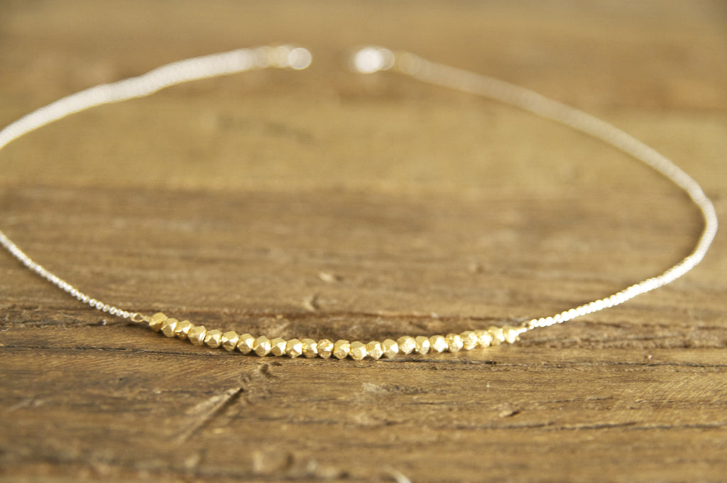 Simple, Dainty Gold Vermeil Nugget Necklace Handcrafted by Bare and Me