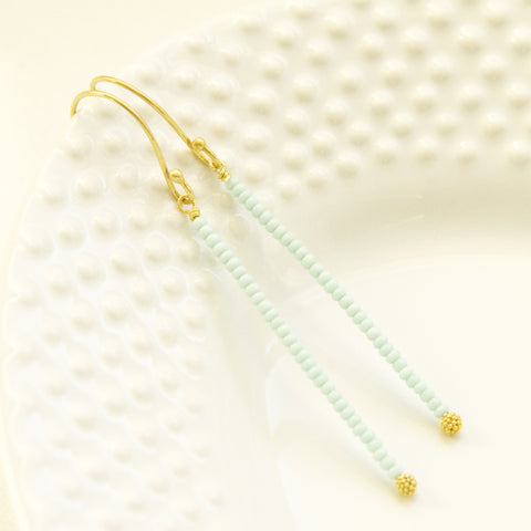 Dainty Stick Mint Earrings in Gold/ Minimalistic Earrings in Mint