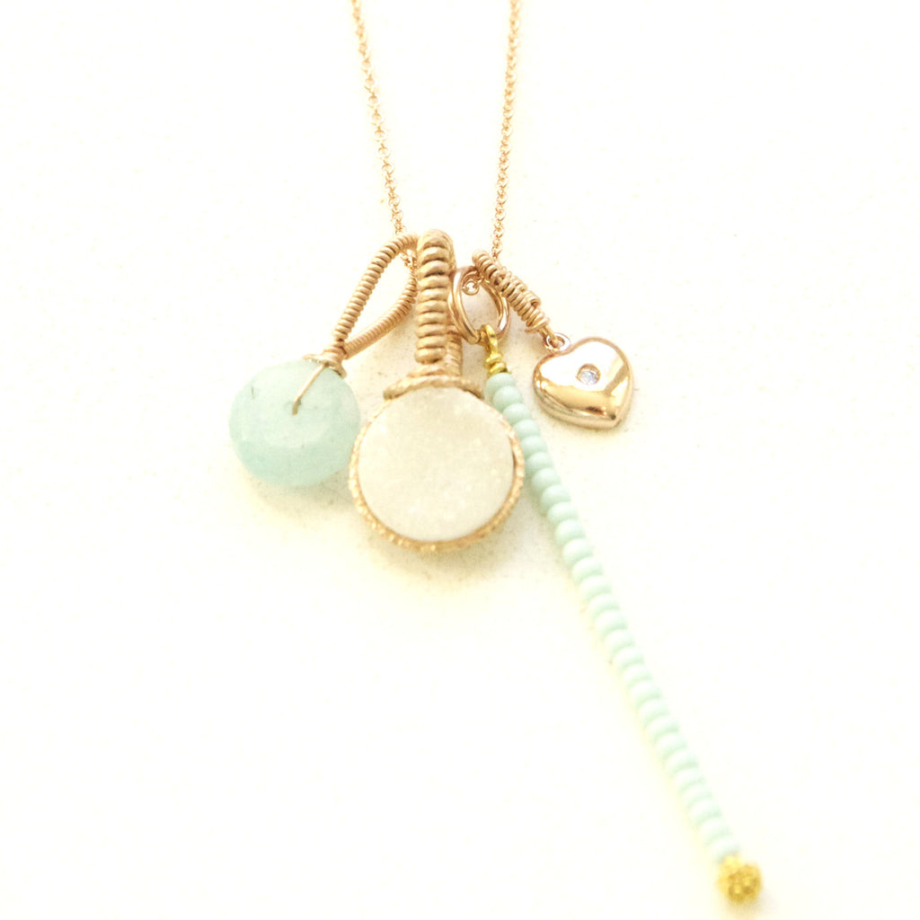 Brilliant White Druzy with Mint Peruvian Opal Charm Neckace