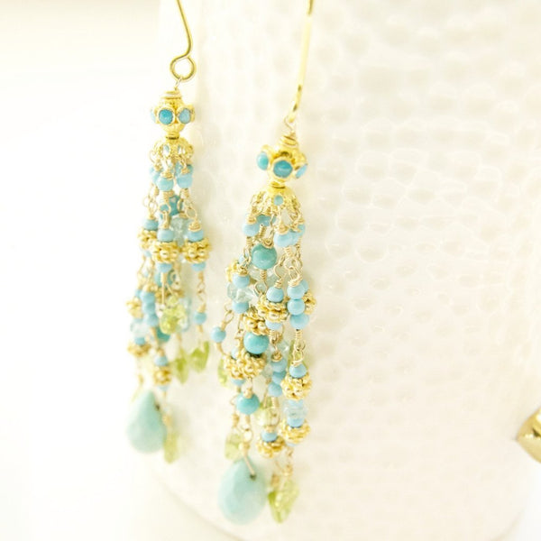Gemstone and Sleeping Beauty Turquoise Statement Earrings Handcrafted by Bare and Me