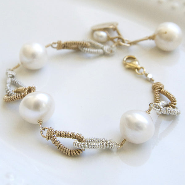 A Perfect Love Story- Pearls and Love Link Statement Bracelet Handcrafted by Bare and Me