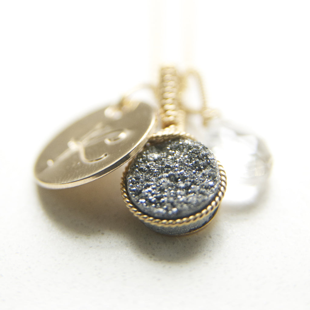 The Perfect Druzy Charm Necklace in Gold and Silver Druzy Handcrafted by Bare and Me