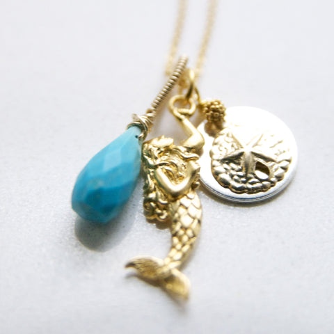 Are You A Mermaid Undercover? The Perfect Mermaid Charm Necklace Handcrafted by Bare and Me