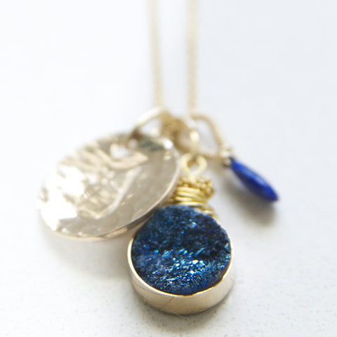 Cobalt Blue Druzy Charm Necklace in Gold Handmade by Bare and Me
