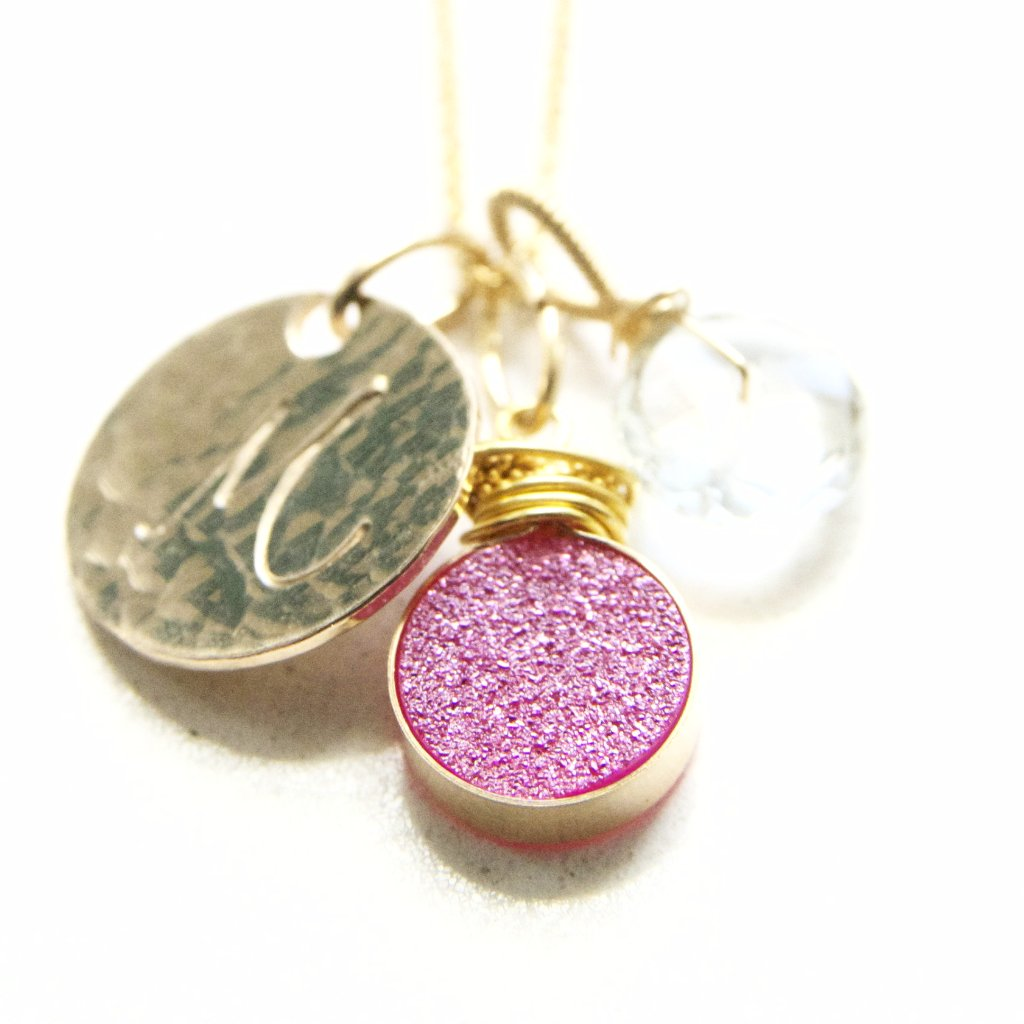 Hot Pink Druzy and Mint Amethyst Charm Necklace Handmade by Bare and Me