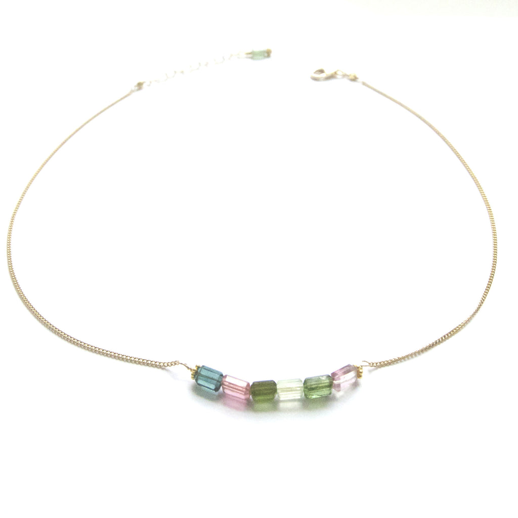 Pink and Green Tourmaline Necklace Handcrafted by Bare and Me