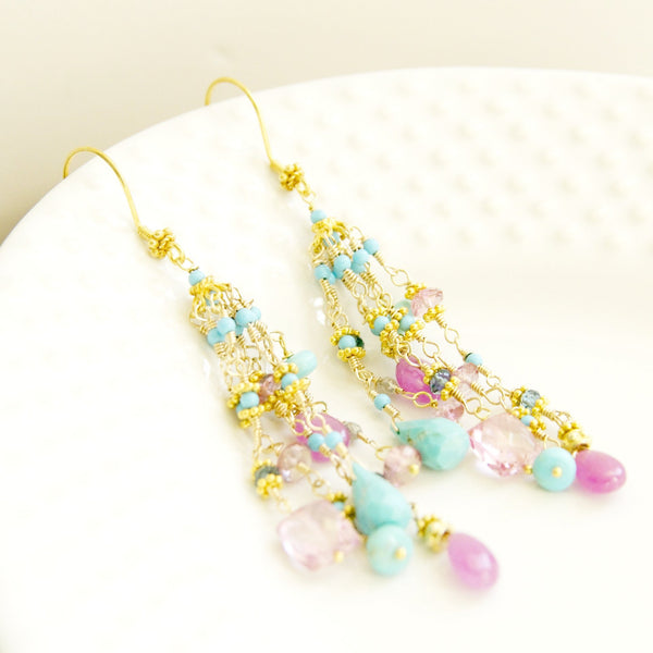 Multi precious stone 24k gold tassel earring handcrafted by bare and me/ gemstone tassel earrings