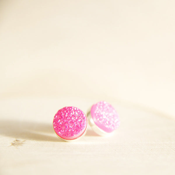 Bright Pink Druze Stud Earrings in Sterling Silver