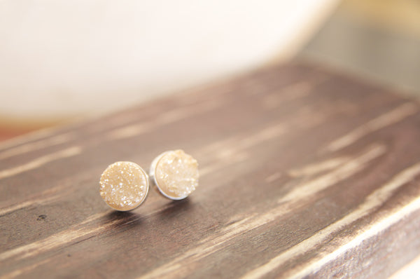 Gold Druze Stud Earrings in Sterling Silver