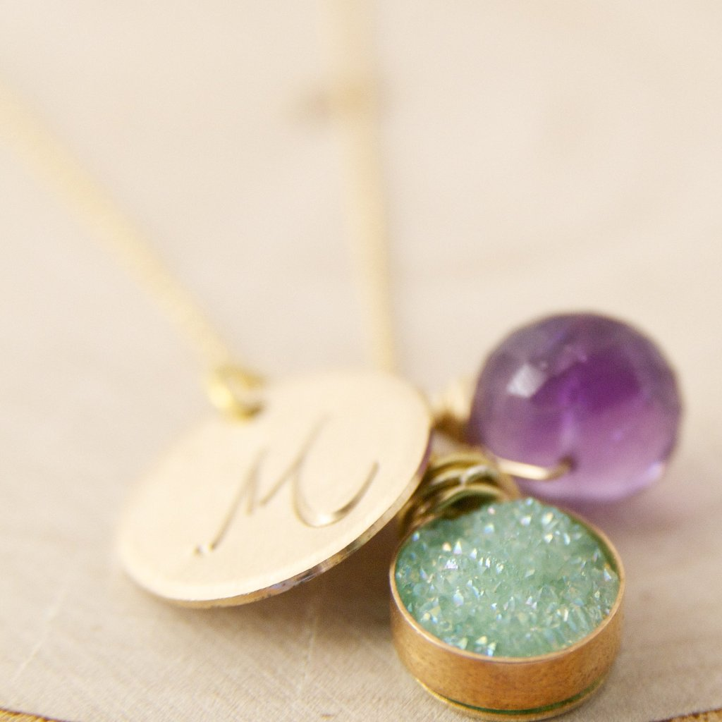 The Ultimate Charm Necklace in Mint Green Druzy and Amethyst in Gold