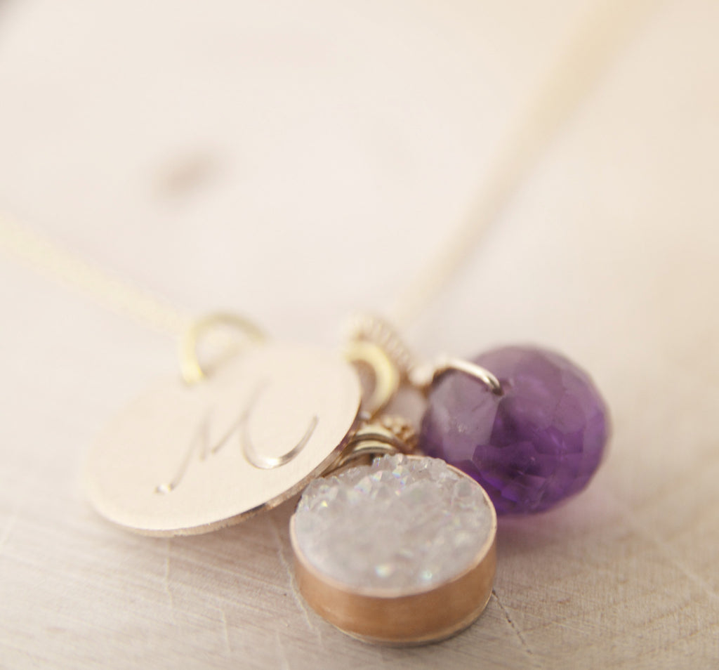 The Ultimate Charm Necklace in Brilliant White Druzy and Amethyst in Gold