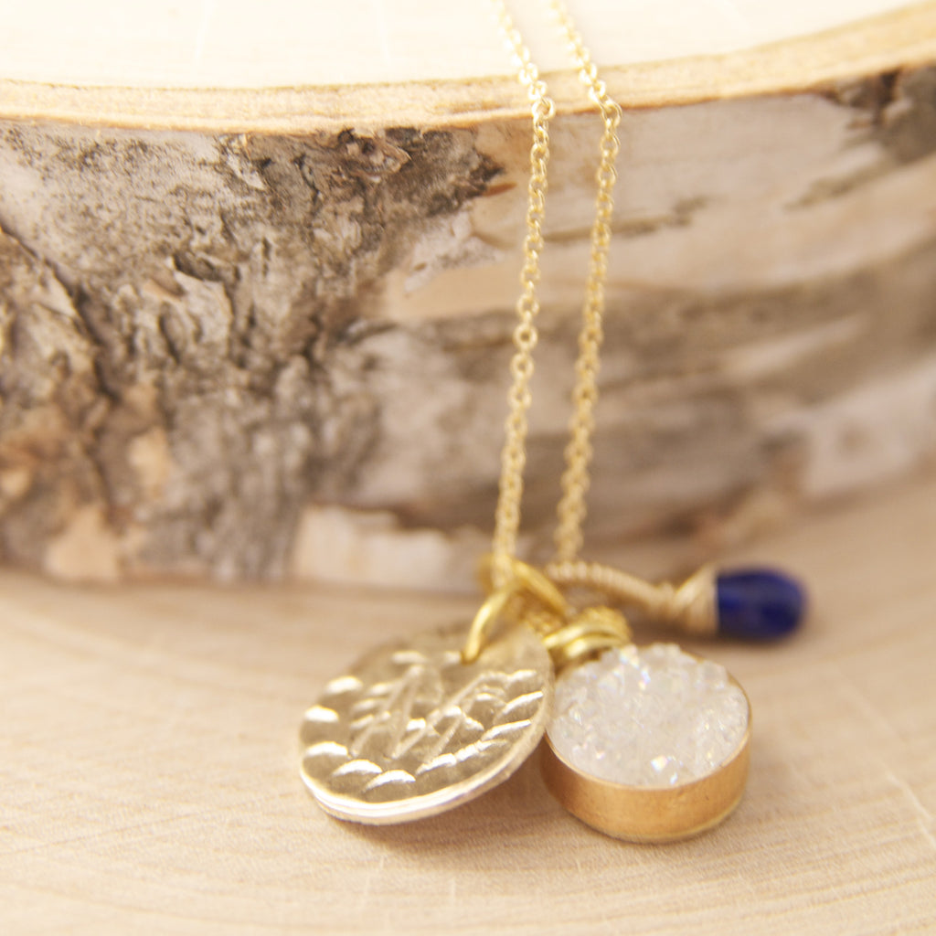 The Ultimate Charm Necklace in Brilliant White Druzy and Kyanite in Gold