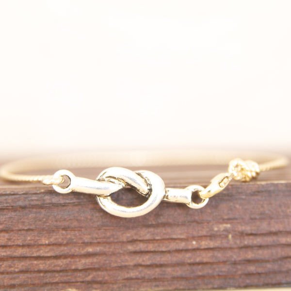 Mixed Metal Love Knot Bracelet Bangle